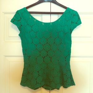 Gorgeous green lace peplum top